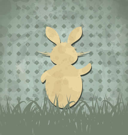 Ostern: Illustration Easter happy vintage poster with rabbit and grass