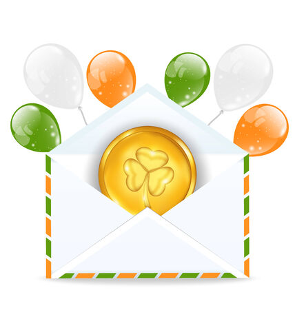 Illustration envelope with golden coin and colorful balloons for St. Patricks Day  illustration