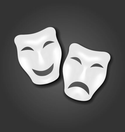 theatre masks: Illustration comedy and tragedy masks for Carnival or theatre