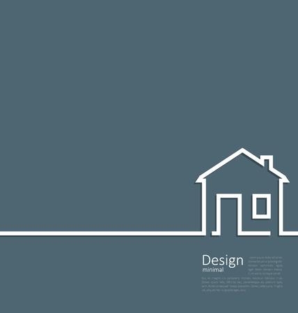 flat roof: Web template house logo in minimal flat style cleaness line - vector