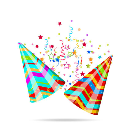 dressing up party: Illustration colorful party hats with confetti for your holiday  Stock Photo