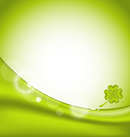 Illustration abstract background with four-leaf clover for St. Patricks Day - vector