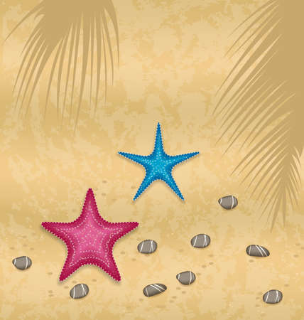 pebble: Illustration sand background with starfishes and pebble stones