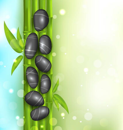contemplation: Illustration spa therapy background with bamboo and stones - vector