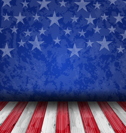 independent day: Illustration empty wooden deck table over USA flag background