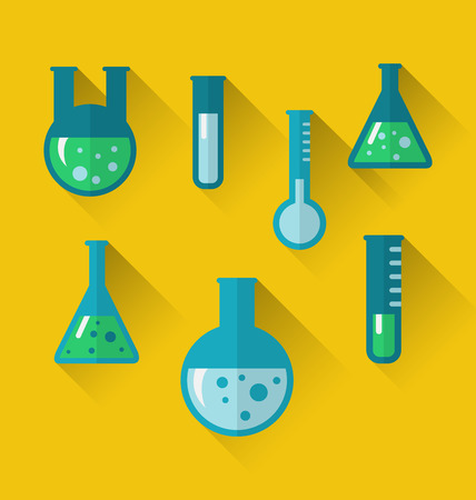 retort: Illustration icons of chemical test tubes with shadows, modern flat style