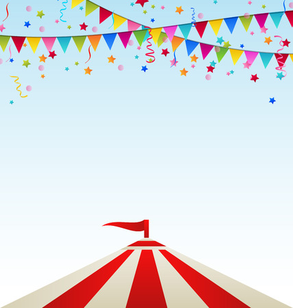 Illustration circus striped tent with flags 스톡 콘텐츠