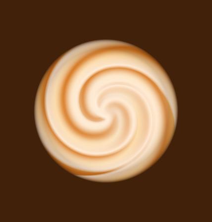 curl whirlpool: Illustration coffee and milk cream texture