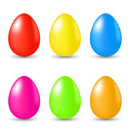 paschal: Illustration Easter set paschal eggs isolated on white background - vector