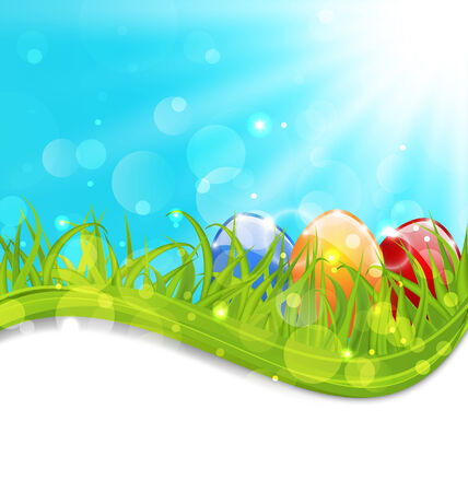 pascua: Illustration april card with Easter set colorful eggs   Stock Photo