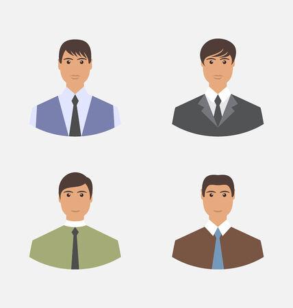 employe: Avatar set front portrait office employee businessman for web design