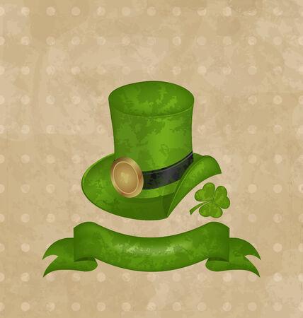 Illustration green hat, clover, ribbon in saint Patrick Day - vector