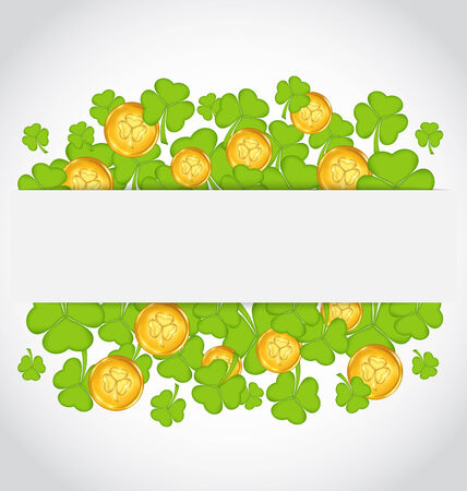 Illustration celebration card with clovers and golden coins for St. Patricks Day  illustration