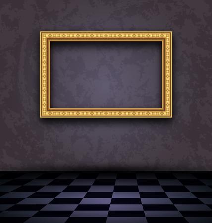 Illustration picture frame in dark empty interior  illustration