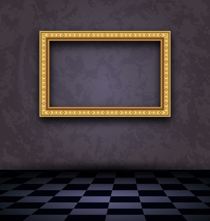 Illustration picture frame in dark empty interior  illustration