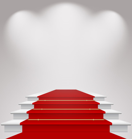 red carpet event: Illustration stairs covered with red carpet, scene illuminated  Stock Photo