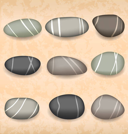 pebbly: Illustration sea pebbles collection on sand background