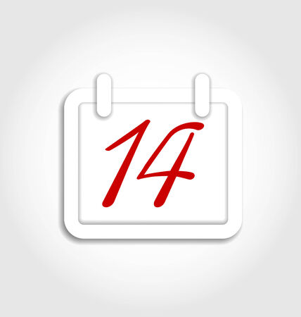 14th: Illustration calendar icon for Valentines day on 14th february