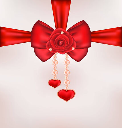 14th: Illustration red bow with rose, heart, pearls for card Valentine Day - vector