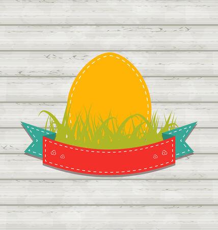 Illustration vintage label with Easter egg on wooden background - vector illustration
