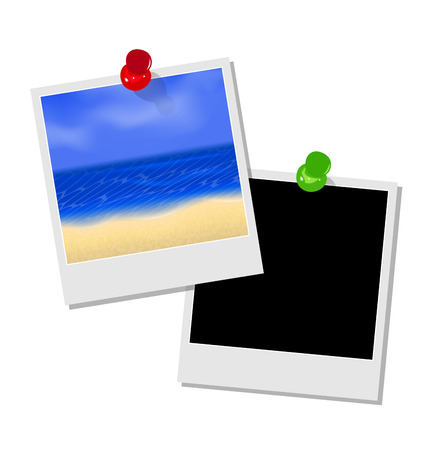 oceanside: Illustration photo frame with beach and empty photo frame - vector Stock Photo