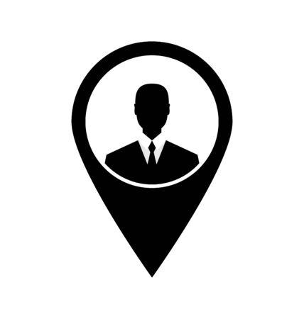 employe: Icon tag avatar businessman suit head sign black - vector Stock Photo