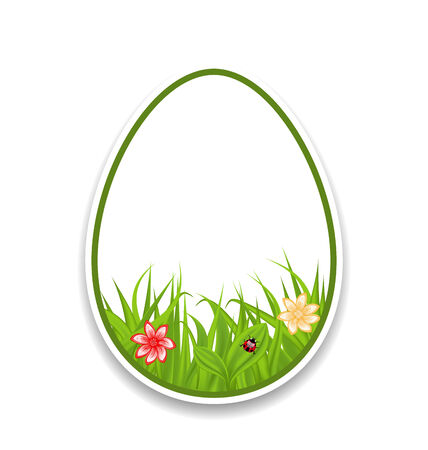 pascua: Illustration Easter paper sticker eggs with green grass and flowers - vector