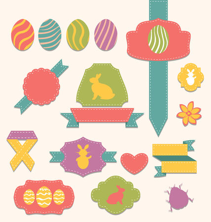 pascua: Illustration Easter scrapbook set - labels, ribbons and other elements (1) - vector