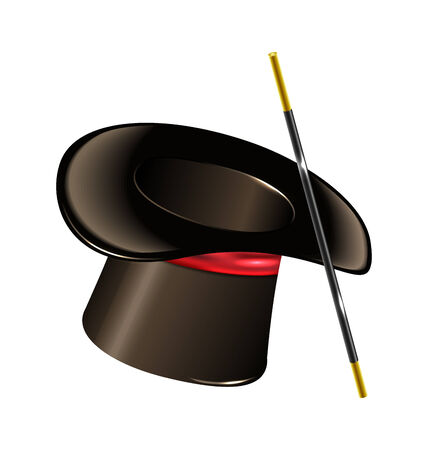 Illustration magic hat with wand isolated on white background - vector illustration