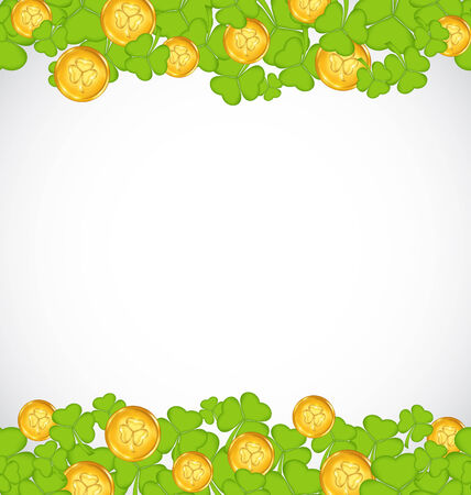 Illustration greeting background with shamrocks and golden coins for St. Patricks Day - vector illustration