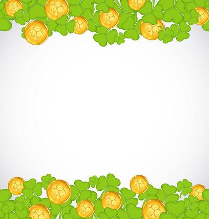 Illustration greeting background with shamrocks and golden coins for St. Patricks Day - vector illustration