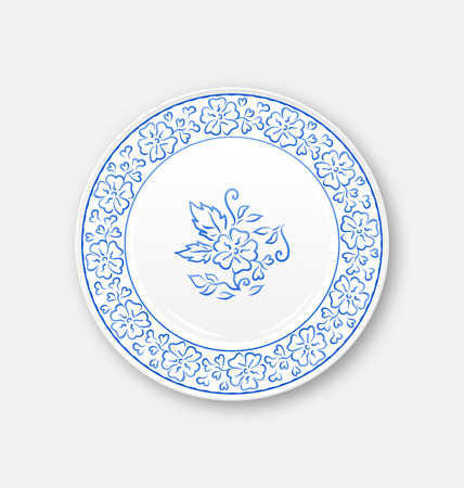 bezel: Illustration white plate with hand drawn floral ornament bezel - vector