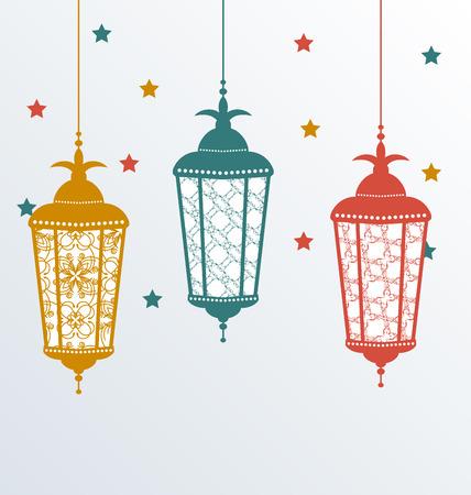 Illustration intricate Arabic lamps for Ramadan Kareem - vector