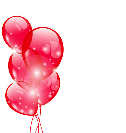Illustration flying red balloons isolated on white background - vector illustration