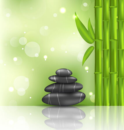 stacked stones: Illustration meditative oriental background with bamboo and heap stones, spa therapy - vector