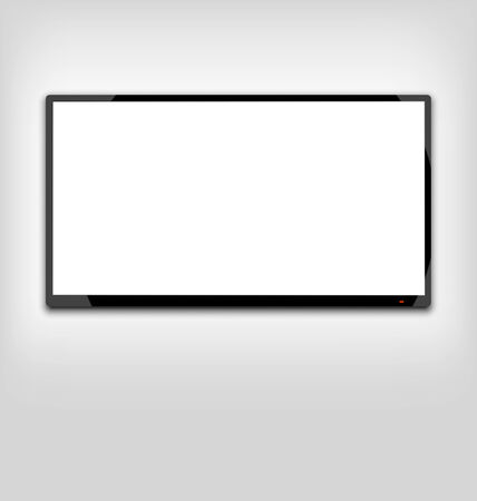Illustration LCD or LED tv screen hanging on the wall - vector illustration