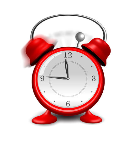 close up isolated: Illustration red alarm clock close up, isolated on white background - vector
