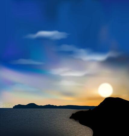 suds: Illustration nature background, sea, mountain, sun, sky during sunrise - vector