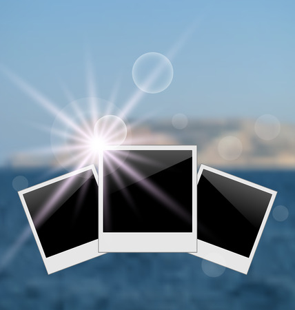oceanside: Illustration set photo frame on blurred seascape background - vector