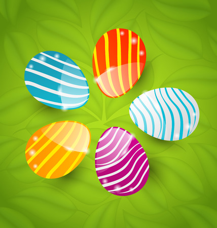 Illustration Easter set colorful ornamental eggs on green leaves background - vector
