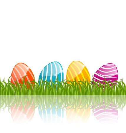pascua: Illustration Easter traditional painted eggs in green grass with empty space for your text - vector