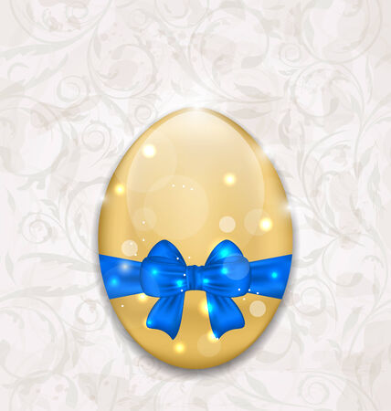 ostern: Illustration Easter glossy egg wrapping blue bow - vector