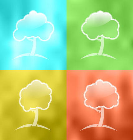 Illustration four seasonal icons with trees - vector illustration