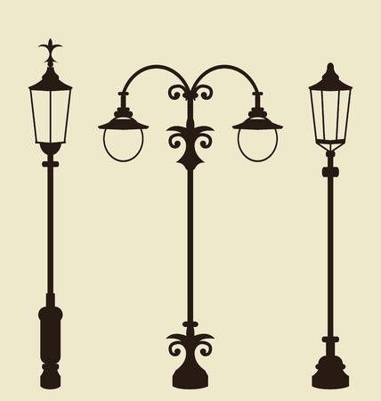 Illustration set of vintage various forged lampposts - vector illustration