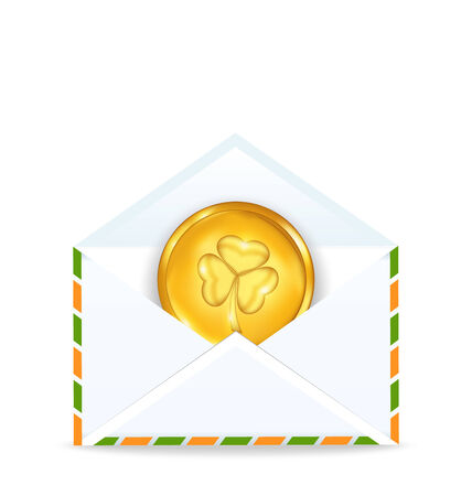 Illustration envelope with golden coin for St. Patricks Day - vector illustration