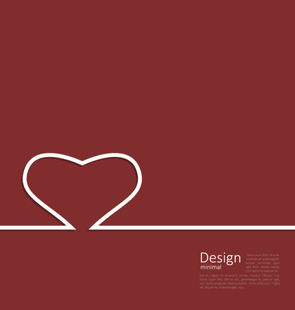 cleaness: Heart ribbon on red background, minimal style for design medical card or Valentines Day cleaness line flat template - vector