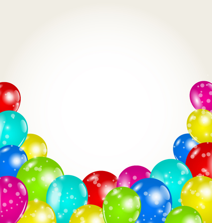 happy birthday balloons: Illustration set colorful balloons for happy birthday - vector Stock Photo