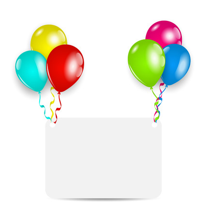 Illustration greeting card with colorful balloons - vector illustration