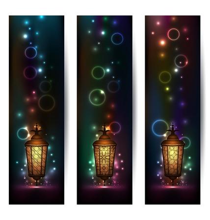 Illustration set light banners with arabic lantern - vector illustration