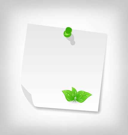 eco notice: Illustration blank note paper with green leaves, isolated on white background - vector
